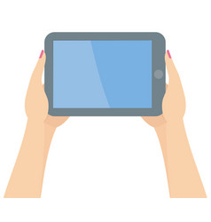 two woman hands holding tablet vector image vector image