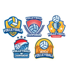 Volleyball badge design set vector