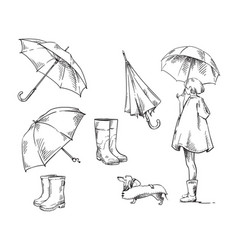 Walk in rain icons about rain and rainy weather vector