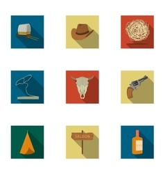 Wild west set icons in flat style Big collection vector image