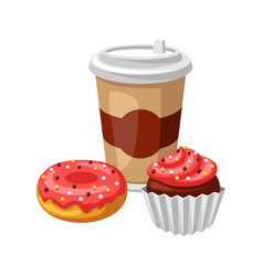 with fast food meal coffee muffin vector image