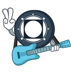 With guitar byteball bytes coin mascot cartoon vector