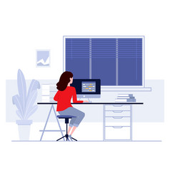 Workplace in office business woman working on vector