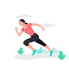 Young woman jogging marathon racer running vector