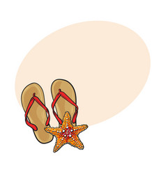 pair of flip flops and starfish symbols of beach vector image