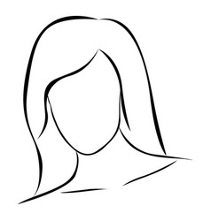 sketch female front view faceless silhouette icon vector image