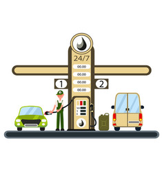 worker is filling the car at the gas station vector image