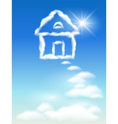 cloud house vector image vector image