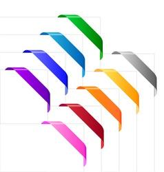 Corner ribbons in various colors vector image