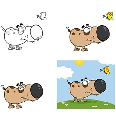 Dog with Butterfly Collection vector image