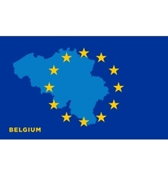 Flag of European Union with Belgium on background vector image