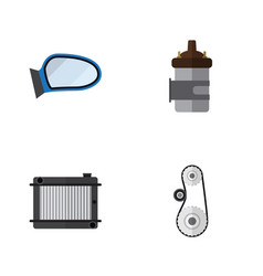 flat auto set of heater auto component absorber vector image vector image