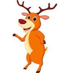 happy deer cartoon waving hand vector image