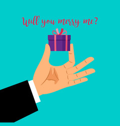 man hand with gift box vector image