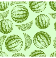 Seamless watermelon pattern Fresh fruit sketch vector image