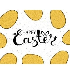 Handmade background with yellow eggs and wishing vector image vector image