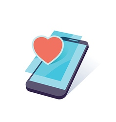 mobile heart vector image vector image