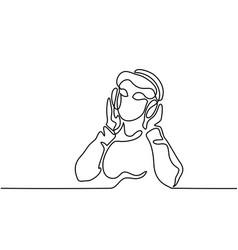 woman listening to music on headphones vector image