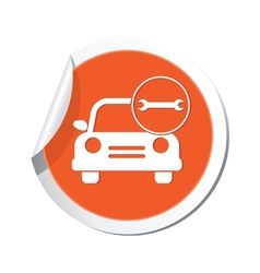 car with wrench icon orange label vector image vector image