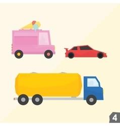 Ice cream van sport car gasoline truck vector image