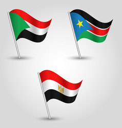 set of waving flags states of african nile valley vector image vector image