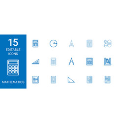 15 mathematics icons vector