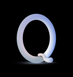 3d fluid letter q on black background vector image
