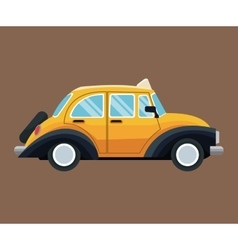 Antique taxi car side view brown background vector