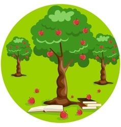 Apple tree with red apples and stack of books vector