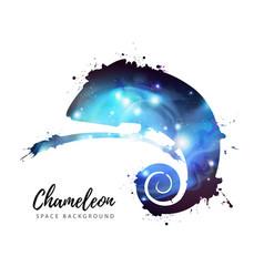Artistic silhouette animal chameleon vector