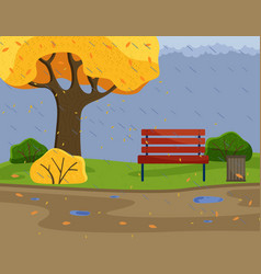 Autumn park background view with strong rain cold vector