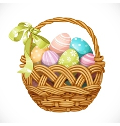 Basket with color Easter eggs isolated on a white vector