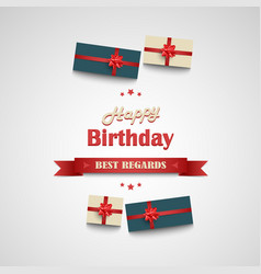 Birthday poster with ribbon and gifts in the vector