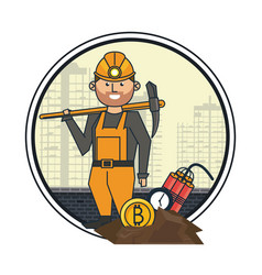 Bitcoin mining worker with pick and tnt vector