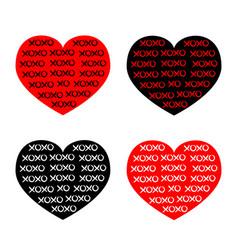 black red heart icon set xoxo phrase sketch vector image