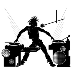 Black silhouette of a DJ at a party vector image