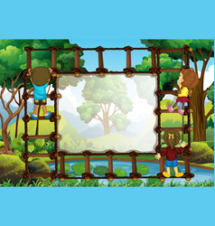 border template with kids climbing ladder vector image