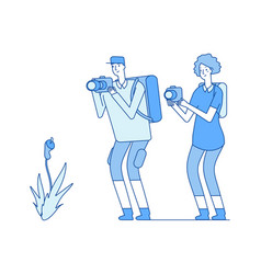 botanists man woman taking flower picture vector image