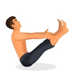 Boy practising yoga navasana pose holding his vector image