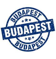 Budapest blue round grunge stamp vector