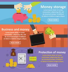 Business money banner horizonatal set flat style vector