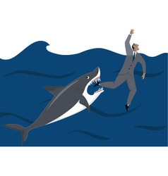 Businessman and shark vector