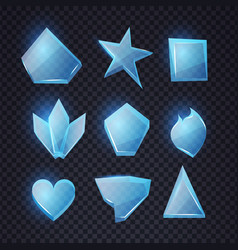 cartoon blue glass banners set chrystal shapes vector image