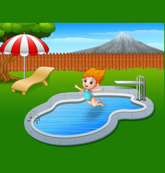 Cartoon girl jumping in swimming pool vector