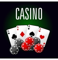 Casino club icon with four aces and gambling chips vector