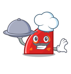 chef with food quadrant mascot cartoon style vector image