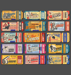 Circus show and funfair carnival retro tickets vector