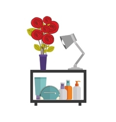 Colorful decorative shelf with vase and lamp vector