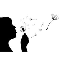 Dandelion flower and girl vector