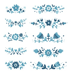 Decorative floral compositions set 2 vector image